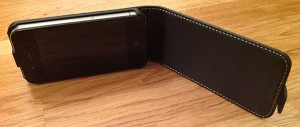 Case It Executive Leather Flip Case iPhone 4/iPhone 4S öppen